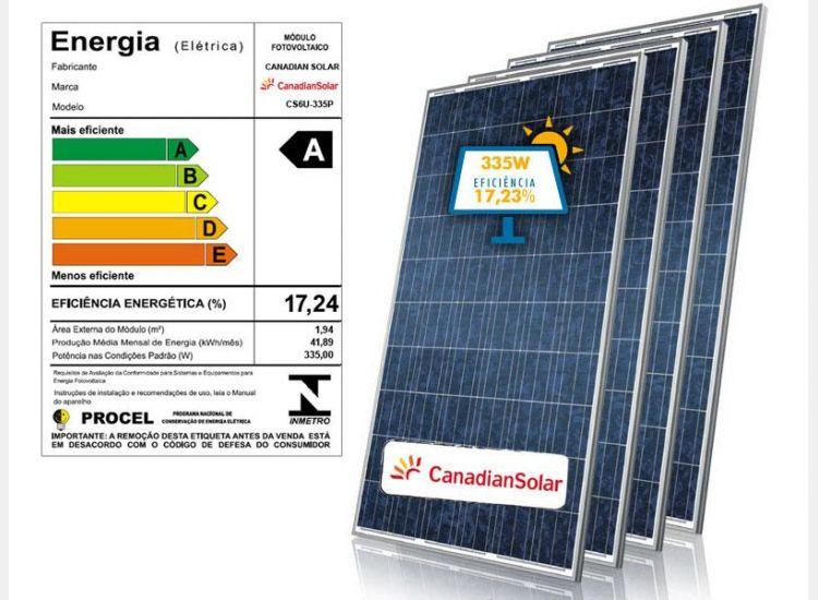 PAINEL SOLAR CANADIAN CENTRAL SOLAR CS6U-335P 72 CELULAS POLICRISTALINA 6 POLEGADAS 335W